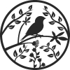 Bird On Tree Branch - For Laser Cut DXF CDR SVG Files - free download