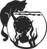 Bquarium Cat Clock - For Laser Router plasma Cut DXF CDR SVG Files - free download