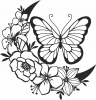 Butterfly floral vector art- For Laser Cut DXF CDR SVG Files - free download