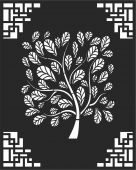 Decorative panel door wall screen tree pattern - For Laser Cut DXF CDR SVG Files - free download