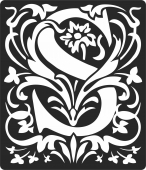 Personalized monogram initial letter s floral artwork - For Laser Cut DXF CDR SVG Files - free download