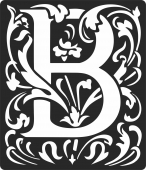 Personalized monogram initial letter b floral artwork - For Laser Cut DXF CDR SVG Files - free download