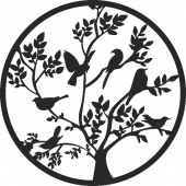 Birds in tree - For Laser Cut DXF CDR SVG Files - free download