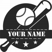 Baseball custom name monogram - For Laser Cut DXF CDR SVG Files - free download
