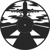 Airplane vinyl wall clock- For Laser Cut DXF CDR SVG Files - free download