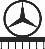 Mercedes wall hooks keys holde - For Laser Cut DXF CDR SVG Files - free download