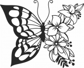 Butterfly floral wall art- For Laser Cut DXF CDR SVG Files - free download