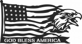 God bless america eagle flag - For Laser Cut DXF CDR SVG Files - free download