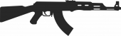 Rifle ak 47 silhouet - For Laser Cut DXF CDR SVG Files - free download