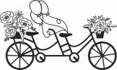 Bicycle with flower and baloon clipart- For Laser Cut DXF CDR SVG Files - free download