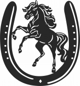 Horseshoe horse sign - For Laser Cut DXF CDR SVG Files - free download