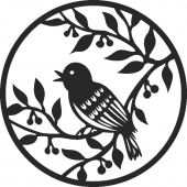 Bird on tree - For Laser Cut DXF CDR SVG Files - free download