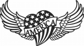Heart with usa flag and wings - For Laser Cut DXF CDR SVG Files - free download