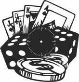 Casino clock poker- For Laser Cut DXF CDR SVG Files - free download