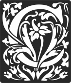 Personalized monogram initial letter c floral artwork - For Laser Cut DXF CDR SVG Files - free download