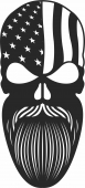 Bearded skull with usa flag  - For Laser Cut DXF CDR SVG Files - free download