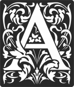 Personalized monogram initial letter a floral artwork  - For Laser Cut DXF CDR SVG Files - free download