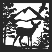 Deer scene forest - DXF CNC dxf for Plasma Laser Waterjet Plotter Router Cut Ready Vector CNC file