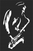 Saxophone player wall art panel  - For Laser Cut DXF CDR SVG Files - free download