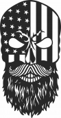 skull with usa flag - For Laser Cut DXF CDR SVG Files - free download