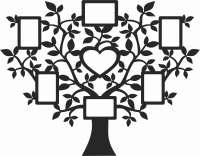 Family Tree with 7 Photo Frames - For Laser Cut DXF CDR SVG Files - free download