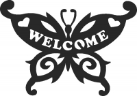 Butterfly Welcome sign - For Laser Cut DXF CDR SVG Files - free download