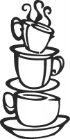 Cofee cup decor - DXF SVG CDR Cut File, ready to cut for laser Router plasma