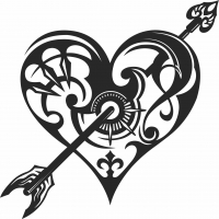 Arrow heart clipart  - For Laser Cut DXF CDR SVG Files - free download