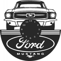 Ford Mustang Wall clock - DXF SVG CDR Cut File, ready to cut for laser Router plasma