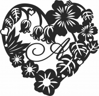 Valentine Heart Rose Flower- For Laser Cut DXF CDR SVG Files - free download