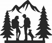 Family Hiking Wedding Couple - For Laser Cut DXF CDR SVG Files - free download