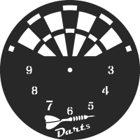 Darts clock - DXF SVG CDR Cut File, ready to cut for laser Router plasma