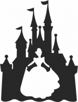 Disney Castle Silhouette - For Laser Cut DXF CDR SVG Files - free download