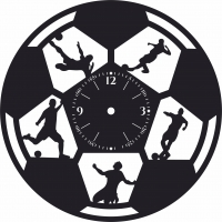Football Wall Clock Sport Wall  - For Laser Cut DXF CDR SVG Files - free download